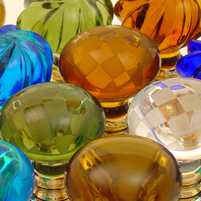 Coloured Glass Door Knobs And Cupboard