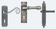 Lever Handles on Backplate Pewter