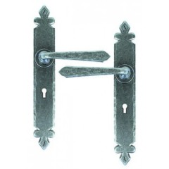 Cromwell Lever Handles Keyhole Lock Backplate External Pewter