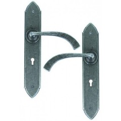 Gothic Lever Handles Keyhole Lock Backplate External Pewter