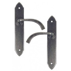 Gothic Lever Handles Plain Latch Backplate External Pewter