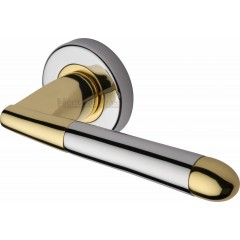 Turin Modern Lever Handles on Rose in Polished Chrome and Brass