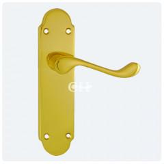 oakley lever on latch polished brass
