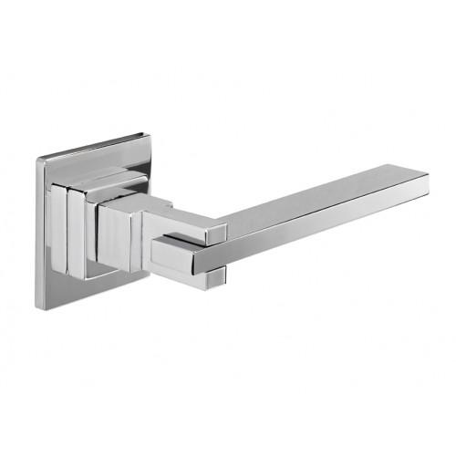 Aldaba Innova Square Cross Lever Door Handles In Polished Chrome - Commercial bathroom door handle