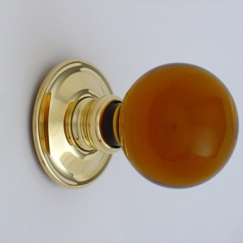 Amber Ball Glass Door Knobs Mortice Or Rim | Door handles & door ...