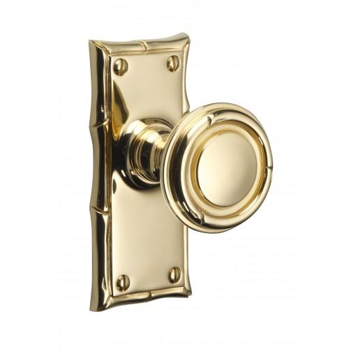 Brassart 851 Bamboo Door Knobs On Backplate Brass Bronze