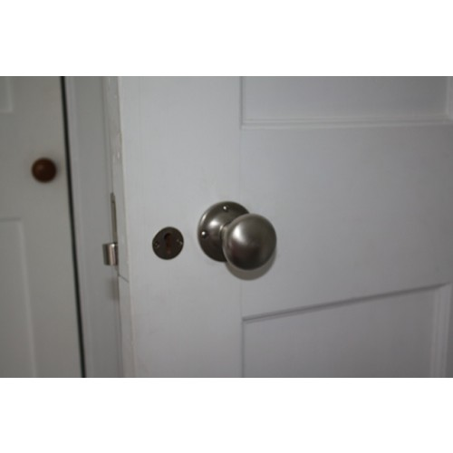 Fitted On 1871 Rim Lock With 1784 Escutcheon; Distressed Antique Nickel - Croft 1757R Cushion Rim Door Knobs In Nickel Chrome Bronze Or Brass