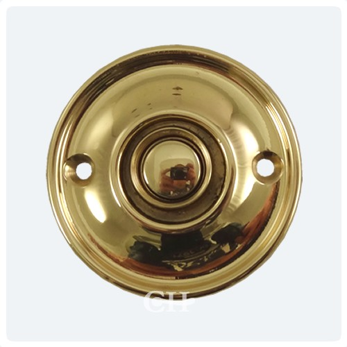 Croft 1913 round circular door bell push in brass bronze for Door bell push