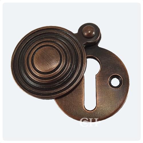 Solid Ebony Beehive Escutcheon With Brass Backplate Door Furniture: Croft 4565 Reeded Beehive Escutcheon In Brass Bronze