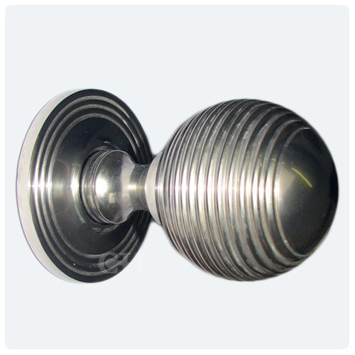 Solid Ebony Nickel Beehive Door Knobs: Croft 6346 Reeded Beehive Mortice Or Rim Door Knobs In