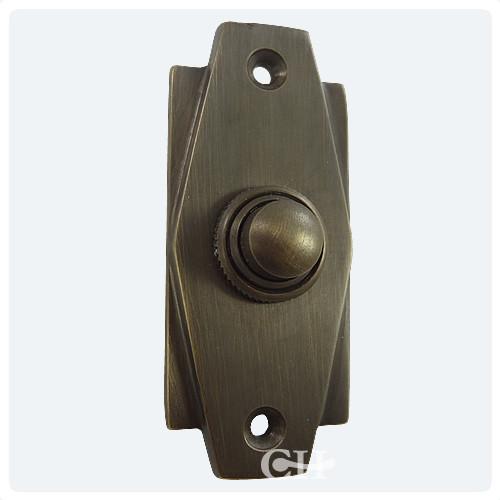 Antique Brass - Croft 7015 Art Deco Door Bell Push In Brass Bronze Nickel Chrome