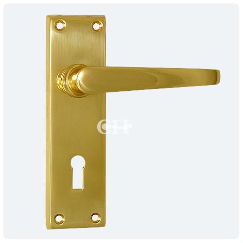 Victorian Door Lever Handle On Keyhole Lock Plate In Brass