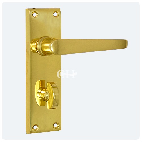 Victorian Door Lever Handle On Privacy Bathroom Plate In Brass From
