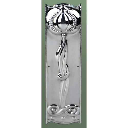 Art nouveau finger plate in polished nickel door handles for Door finger plates