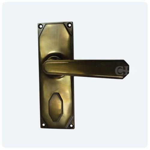Antique Brass Unlaquered; Ebony Bronze - British Handmade Art Deco Lever Door Handles In Nickel Chrome Brass