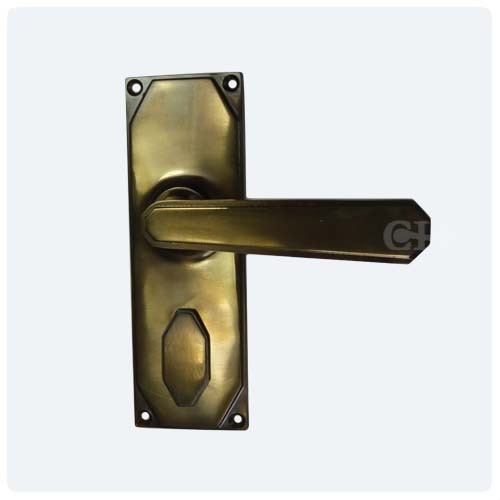 Antique Brass Unlaquered With Keyhole Cover ... - Frank Allart 9012 Art Deco Lever Door Handles In Nickel Chrome