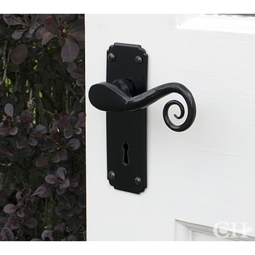 Fitted & From the Anvil 33279 Black Monkeytail Handles on Lock Backplate from ...