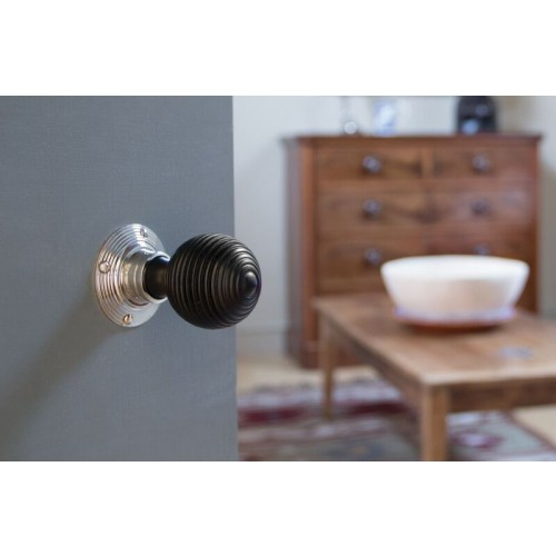 Solid Ebony Nickel Beehive Door Knobs: From The Anvil 83634 Ebony Reeded Beehive Door Knobs