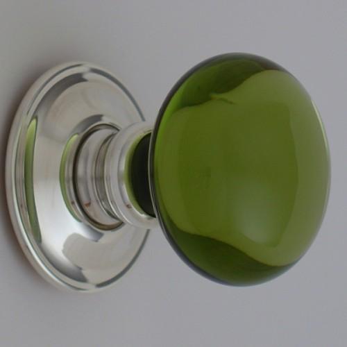 Period Green Glass Door Knobs Mortice Or Rim | Door handles & door ...
