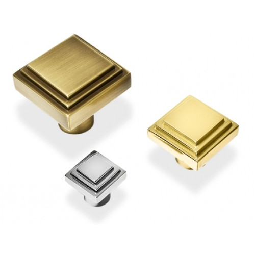Henry blake art deco square stepped cupboard knobs in for Square kitchen cabinet knobs