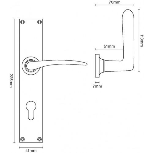 Croft 2107 Oaken Multipoint 92mm Espagnolette Door Lever