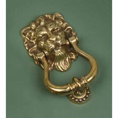 Aged brass lions head door knockers from cheshire hardware door handles door accessories - Lion head brass door knocker ...