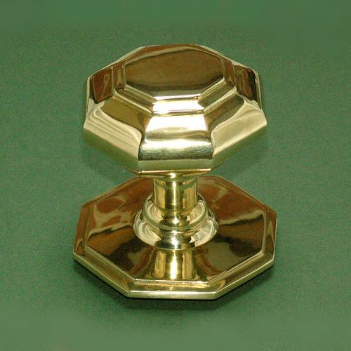 Octagonal Centre Door Knobs in Polished Brass from Cheshire Hardware ...