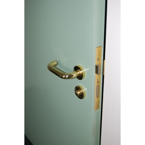 Aq2 Brass Return To Door Safety Lever Handles On Rose From