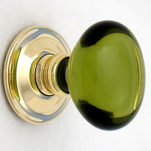Period Green Oval Glass Door Knobs Mortice Or Rim Door