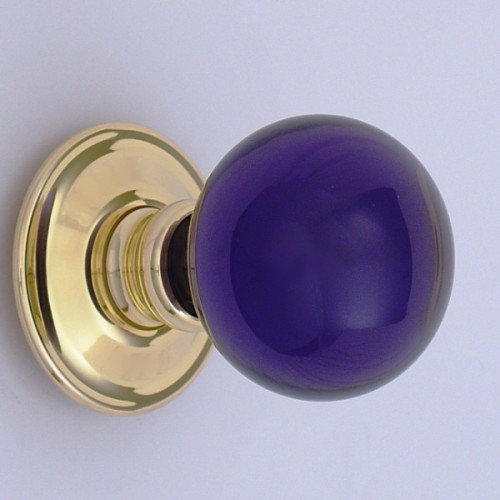 Purple Glass Door Knobs Arts And Crafts Hand Crafted Violet Crystal ...