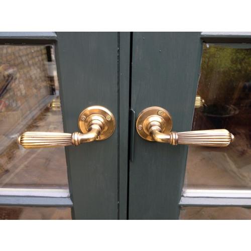 Regency Reeded Lever Door Handles In Nickel Or Aged Brass