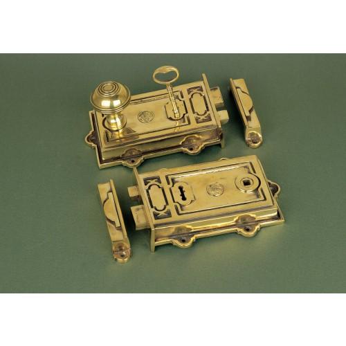 Period Victorian Rim Locks In Aged Brass From Cheshire