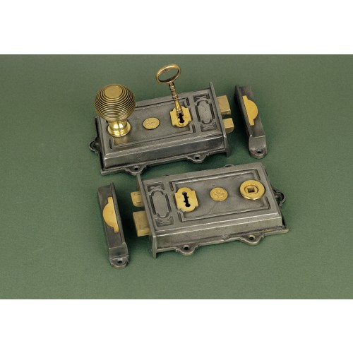 Period Victorian Rim Locks In Iron With Brass Fittings