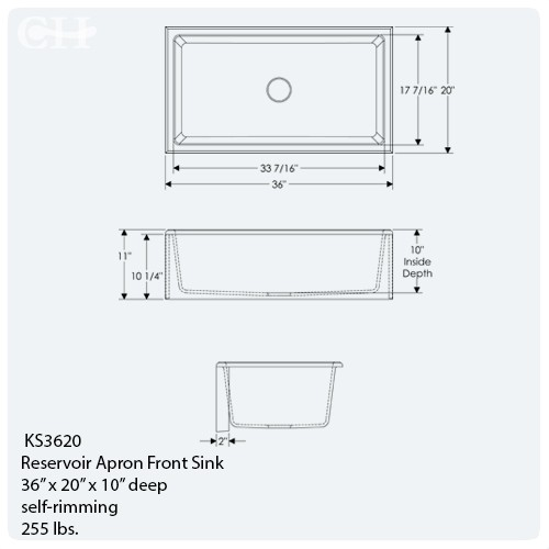 Apron Sink Sizes : light sinks Available sink finishes. BL or WL recommended. Dimensions ...