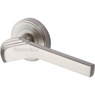 Tiffany Deco Lever Handles on Rose in Satin Nickel