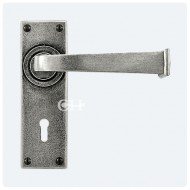 Finesse Design Pewter Allendale Lever Handles on Keyhole Backplate