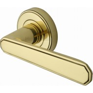 Century Deco Lever Handles on Rose in Polished Brass