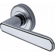 Century Deco Lever Handles on Rose in Polished Chrome