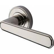 Century Deco Lever Handles on Rose in Polished Nickel