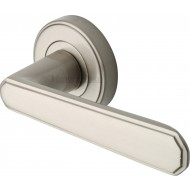 Century Deco Lever Handles on Rose in Satin Nickel