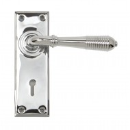 Anvil Regency Chrome Reeded Lever Handles On Keyhole Backplate