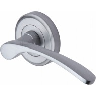 Sophia Designer Lever Handles on Rose in Satin Chrome