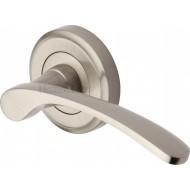 Sophia Designer Lever Handles on Rose in Satin Nickel