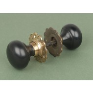 Ebony And Brass Bun Mortice or Rim Door Knobs