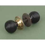 Ebony And Brass Beehive Mortice or Rim Door Knobs