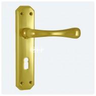 eden brass lock lever handles on backplate