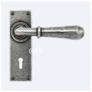 Finesse Design Pewter Fenwick Lever Handles on Keyhole Backplate