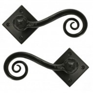Monkeytail Lever Handles on Diamond Rose Black