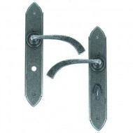 Gothic Lever Handles Bathroom Backplate External Pewter