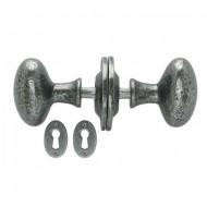 Oval Doorknob Set In Pewter